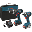 "Bosch 18V 2-Tool Kit with 1/2"" Compact Tough Hammer Drill Driver and 1/4"" Hex Impact Driver CLPK244-181 ES5559"