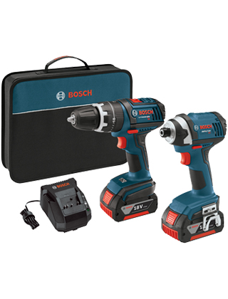 "Bosch 18V 2-Tool Kit with 1/2"" Compact Tough Hammer Drill Driver and 1/4"" Hex Impact Driver CLPK245-181 ES5560"