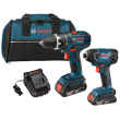 "Bosch 18V 2-Tool Combo Kit (1/2"" Compact Tough Drill/Driver and Impact Driver) CLPK232-181 ES5562"
