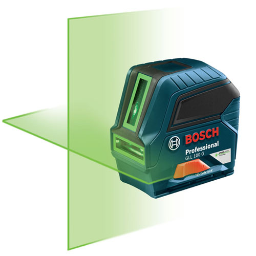 Bosch GLL 100 G - Green-beam Self-Leveling Cross-Line Laser ES7756