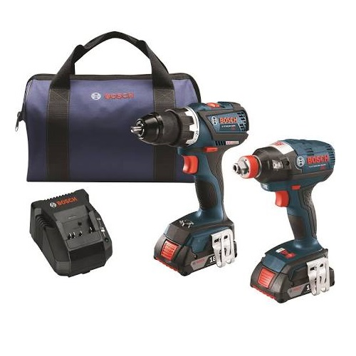 "Bosch CLPK238-181 - 18V 2-Tool Combo Kit with EC Brushless 1/4"" and 1/2"" Socket-Ready Impact Driver and EC Brushless Compact Tough 1/2"" Drill/Driver"
