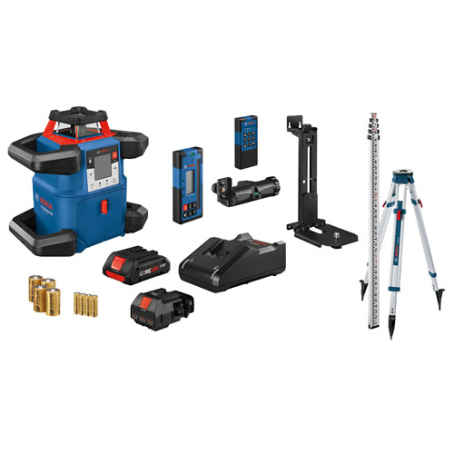Bosch 18V REVOLVE4000 Connected Self-Leveling Horizontal and Vertical Rotary Laser Kit with CORE18V 4.0 Compact Battery - GRL4000-80CHVK
