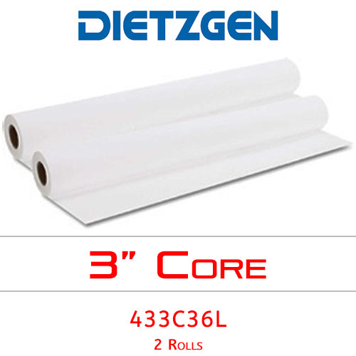 "Dietzgen Laser Printer & Copier Recycled Bond Paper, 20 lb, 36"" x 500' (2 Rolls) 433C36L"