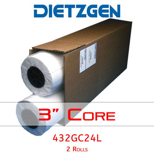 "Dietzgen Laser Printer & Copier Green Tint Bond Paper, 20 lb, 24"" x 500' (2 Rolls) 432GC24L"