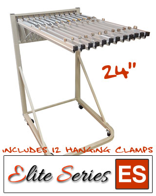"Elite Series ES-RBS-24B - Rolling Blueprint Stand Bundle with a Dozen 24"" Clamps"