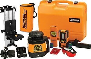 Johnson Level Electronic Self Leveling Horizontal & Vertical Rotary Laser Level Kit 40-6534