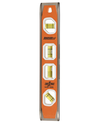 "Johnson Level 1435-1200 - 12"" Big J Magnetic Torpedo Level with Multi-Pitch Vial"
