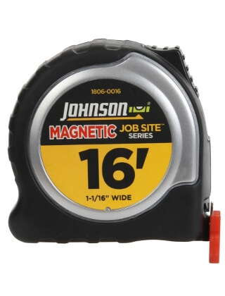 "Johnson Level 16' X 1-1/16"" JobSite Magnetic Power Tape 1806-0016"