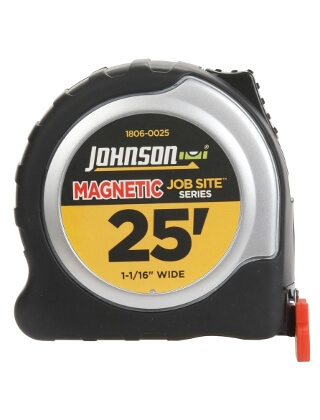 "Johnson Level 25' X 1-1/16"" JobSite Magnetic Power Tape 1806-0025"