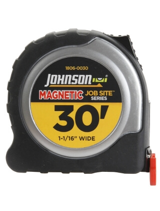 "Johnson Level 30' X 1-1/16"" JobSite Magnetic Power Tape 1806-0030"