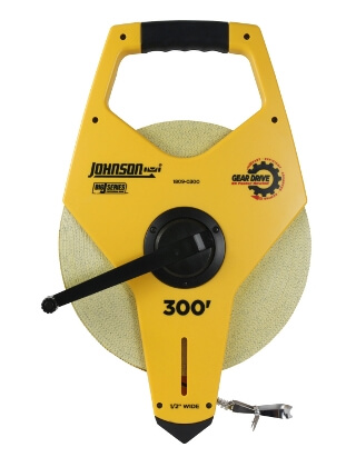 Johnson Level 300' Big J Geared Open Reel Fiberglass Tape 1809-0300