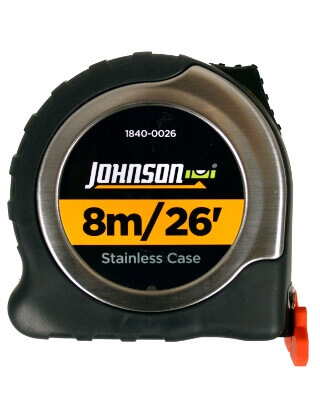Johnson Level 8m/26' Metric/Inch Big J Magnetic Power Tape 1840-0026