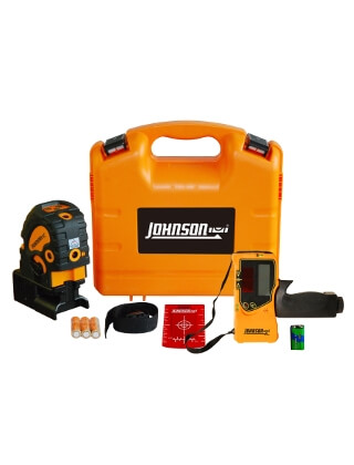Johnson Level Self-Leveling Combination Cross-Line and 5 Beam Laser Dot Kit with Detector - 40-6687