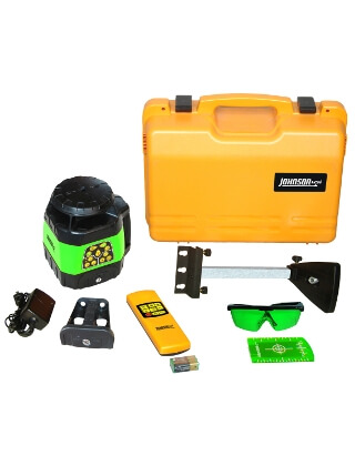 Johnson Level Electronic Self-Leveling Horizontal & Vertical Rotary Laser Kit with GreenBrite Technology - 40-6544 ES5067