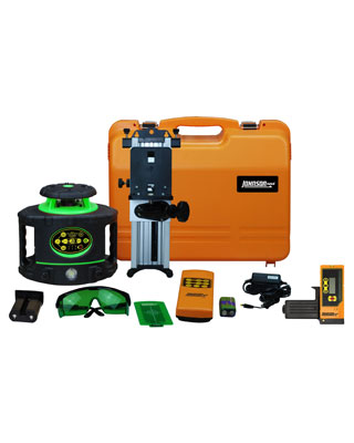 Johnson Level Electronic Self Leveling Rotary Laser Level with GreenBrite Technology Kit 40-6548