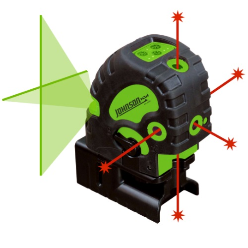 Johnson Level 40-6688 - Self-Leveling Combination Green Cross-Line and Red 5 Dot Laser