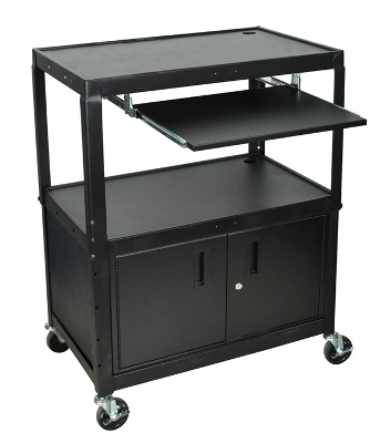 Luxor Extra Large Cart with Keyboard Shelf & Cabinet - AVJ42XLKBC