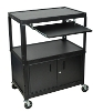 Luxor Extra Large Cart with Keyboard Shelf & Cabinet - AVJ42XLKBC ES4546