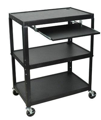 Luxor Extra Large Steel Adjustable Cart with Keyboard Shelf - AVJ42XLKB