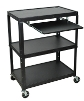 Luxor Extra Large Steel Adjustable Cart with Keyboard Shelf - AVJ42XLKB ES4547