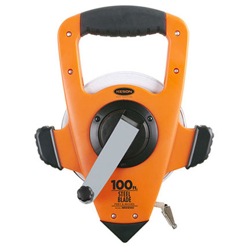 Keson NRS Series 100' Steel Blade Measuring Tape with Speed Rewind (2 Models Available)