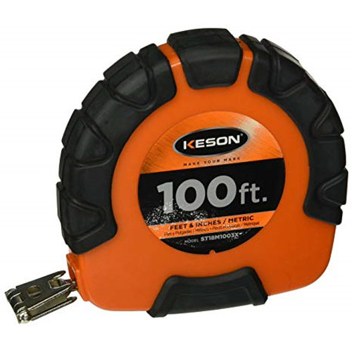 Keson ST3X Series 100'/30m Steel Blade Measuring Tape with Speed Rewind - ST18M1003X
