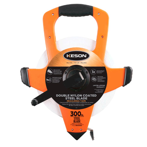 Keson NRS Series 330'/100m Steel Blade Measuring Tape with Speed Rewind with Hook End - NRS18M330