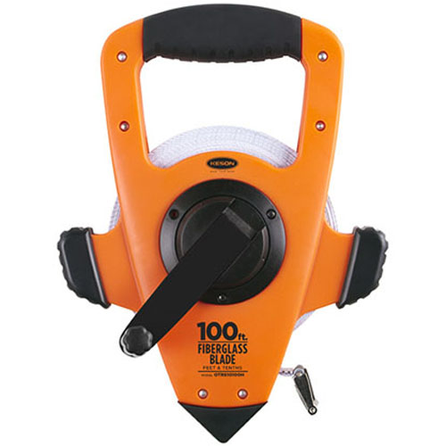 Keson OTRS Series 100' Fiberglass Blade Measuring Tape with Speed Rewind (2 Models Available)