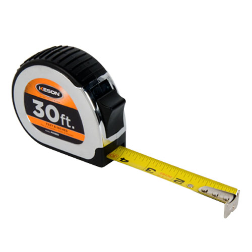 Keson Chrome Series 30' Short Tape Measure - Feet, Inches, 8ths, 16ths - PG1830