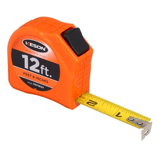 Keson Toggle Series 12 ft Short Tape Measure - Feet, Inches, 8ths, 16ths - PGT1812V