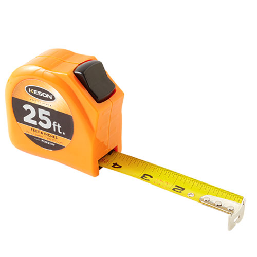 Keson Toggle Series 25 ft Short Tape Measure - Feet, Inches, 8ths, 16ths - PGT1825V