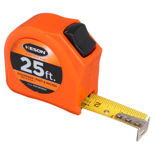 Keson Toggle Series 25 ft Short Tape Measure - Feet, 10ths, 100ths, and Inches, 8ths, 16ths - PGT181025V