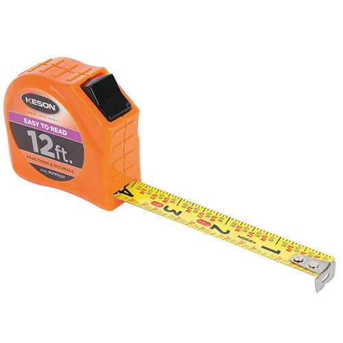 Keson Toggle Series 12 ft Short Tape Measure - Feet, Inches, 8ths, 16ths and Decimal - PGTFD12V