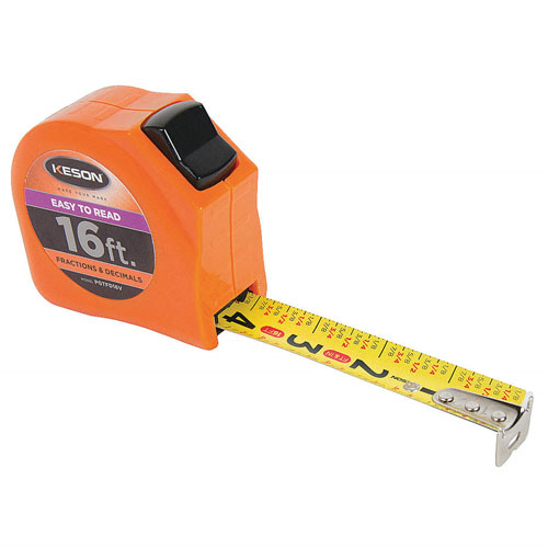 Keson Toggle Series 16 ft Short Tape Measure - Feet, Inches, 8ths, 16ths and Decimal - PGTFD16V