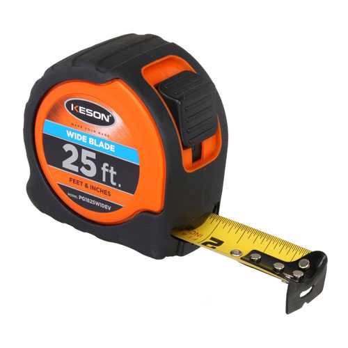 Keson 25 ft Wide Blade Short Tape - Feet, Inches, 18ths, 16ths - PG1825WIDEV