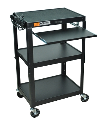 Luxor Adjustable Height Steel Cart with Pullout Keyboard Tray