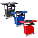 Luxor Adjustable-Height Steel AV Cart with Pullout Keyboard Tray, Cabinet, Drop Leaf (3 Colors Available) ES4544