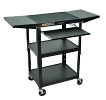 Luxor Steel Adjustable Cart with Keyboard & Drop Leaf shelves (3 Colors Available) ES4545