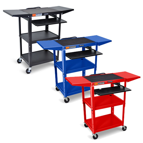 Luxor Adjustable-Height Steel AV Cart with Pullout Keyboard Tray, Drop Leaf (3 Colors Available)
