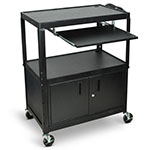 Luxor Extra-Large Adjustable-Height Steel Cart with Pullout Keyboard Tray and Cabinet - AVJ42XLKBC ES4546