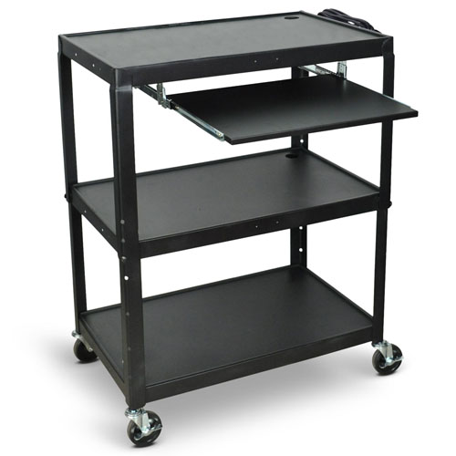 Luxor Extra-Large Adjustable-Height Steel AV Cart with Pullout Keyboard Tray- AVJ42XLKB