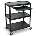 Luxor Extra-Large Adjustable-Height Steel AV Cart with Pullout Keyboard Tray- AVJ42XLKB ES4547