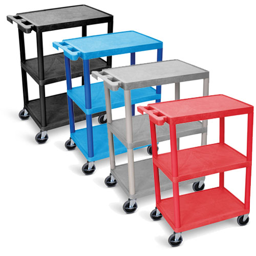 Luxor Utility Cart - 3 Shelves Structural Foam Plastic - HE34 (4 Colors Available)