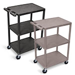 Luxor Utility Cart - 3 Shelves Structural Foam Plastic - HE42 (2 Colors Available) ES4593