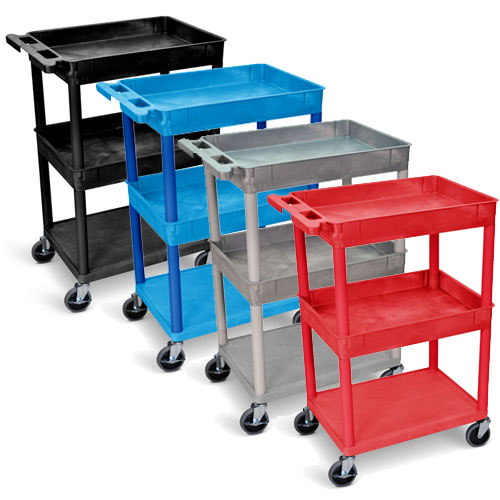 Luxor Top/Middle Tub and Flat Bottom Shelf Cart - STC112 (4 Colors Available)