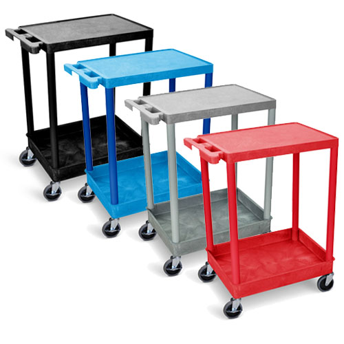 Luxor Flat-Top and Tub-Bottom Shelf Cart - STC21 (4 Colors Available)