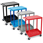 Luxor Flat-Top and Tub-Bottom Shelf Cart - STC21 (4 Colors Available) ES4597