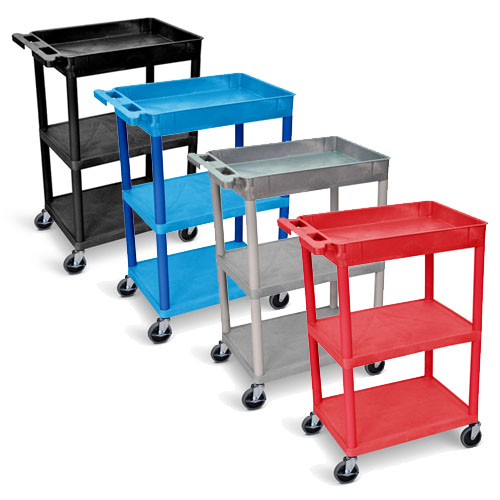 Luxor Tub Top and Flat Middle/Bottom Shelf Cart - STC122 (4 Colors Available)