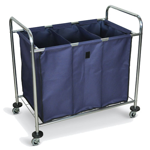 Luxor Industrial Laundry Cart - Divided Canvas Bag - HL15