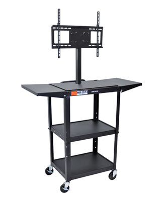 Luxor Adjustable Height Steel A/V Cart - AVJ42DL-LCD - LCD Mount, Drop Leaf